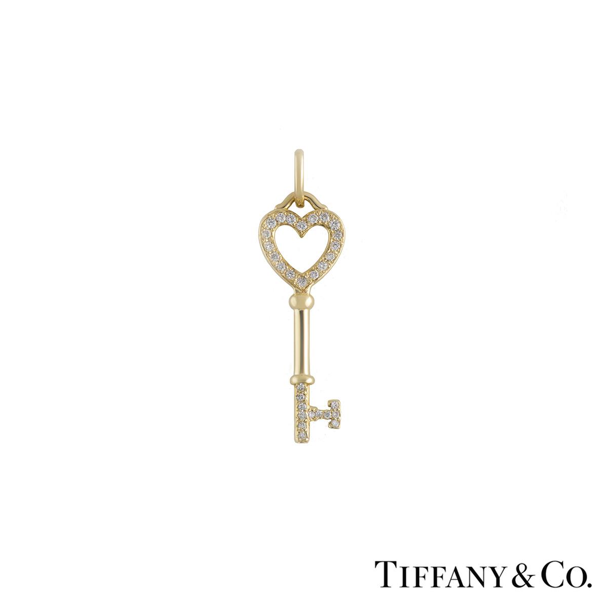 Tiffany & Co. 18k Yellow Gold Diamond Set Heart Key Pendant